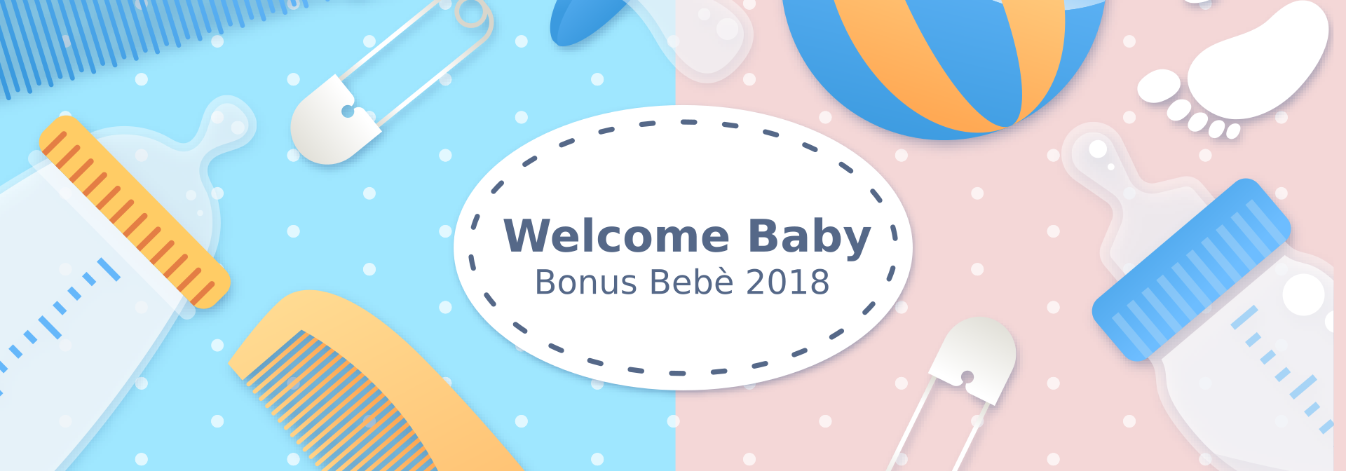 Banner - Welcome Baby 2018 - Blu e Rosa