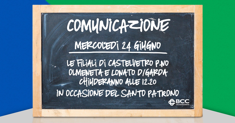 Lavagna per patrono Castelvetro-Olmeneta-Lonato