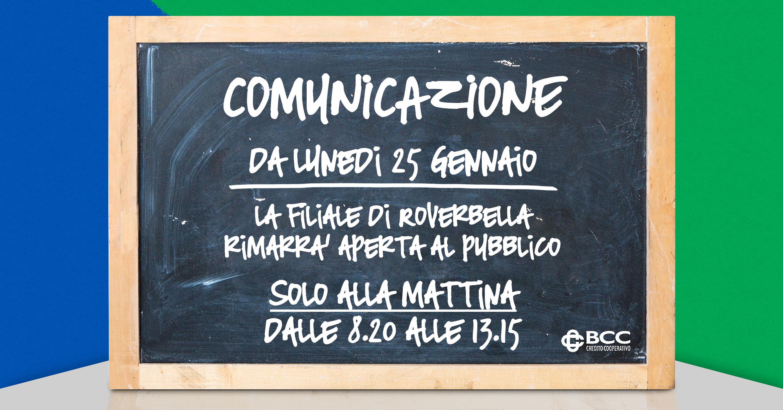 Lavagna chiusura pomeridiana filiale Roverbella