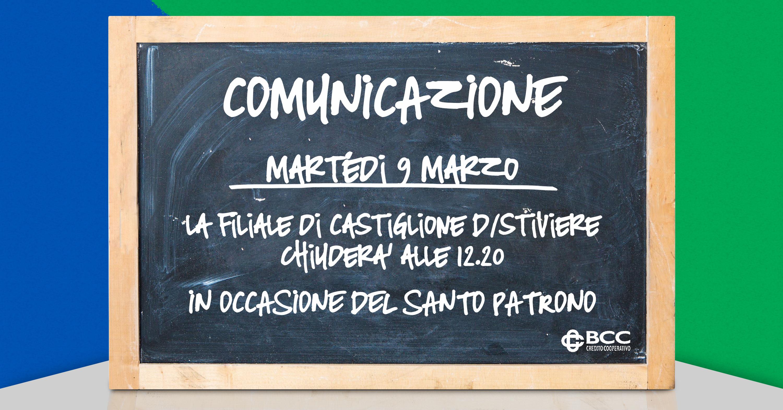 Lavagna per Patrono Castiglione dS 2021