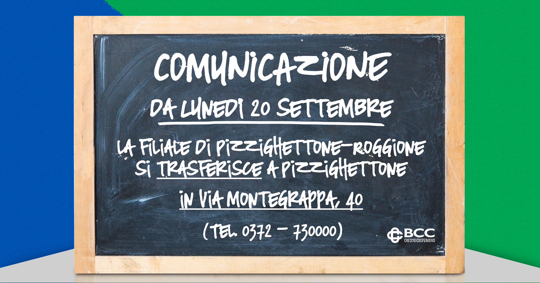 Lavagna trasferimento Pizzighettone-Roggione