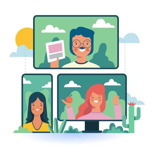 Immagine videoconferenza vettoriale grafica