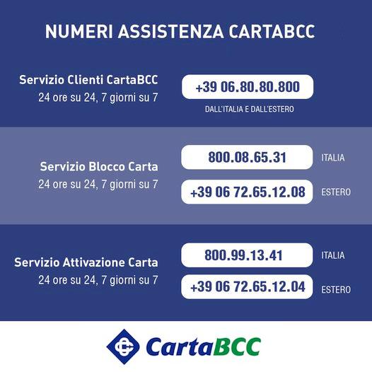 CartaBCC - Nuovi numeri di telefono assistenza