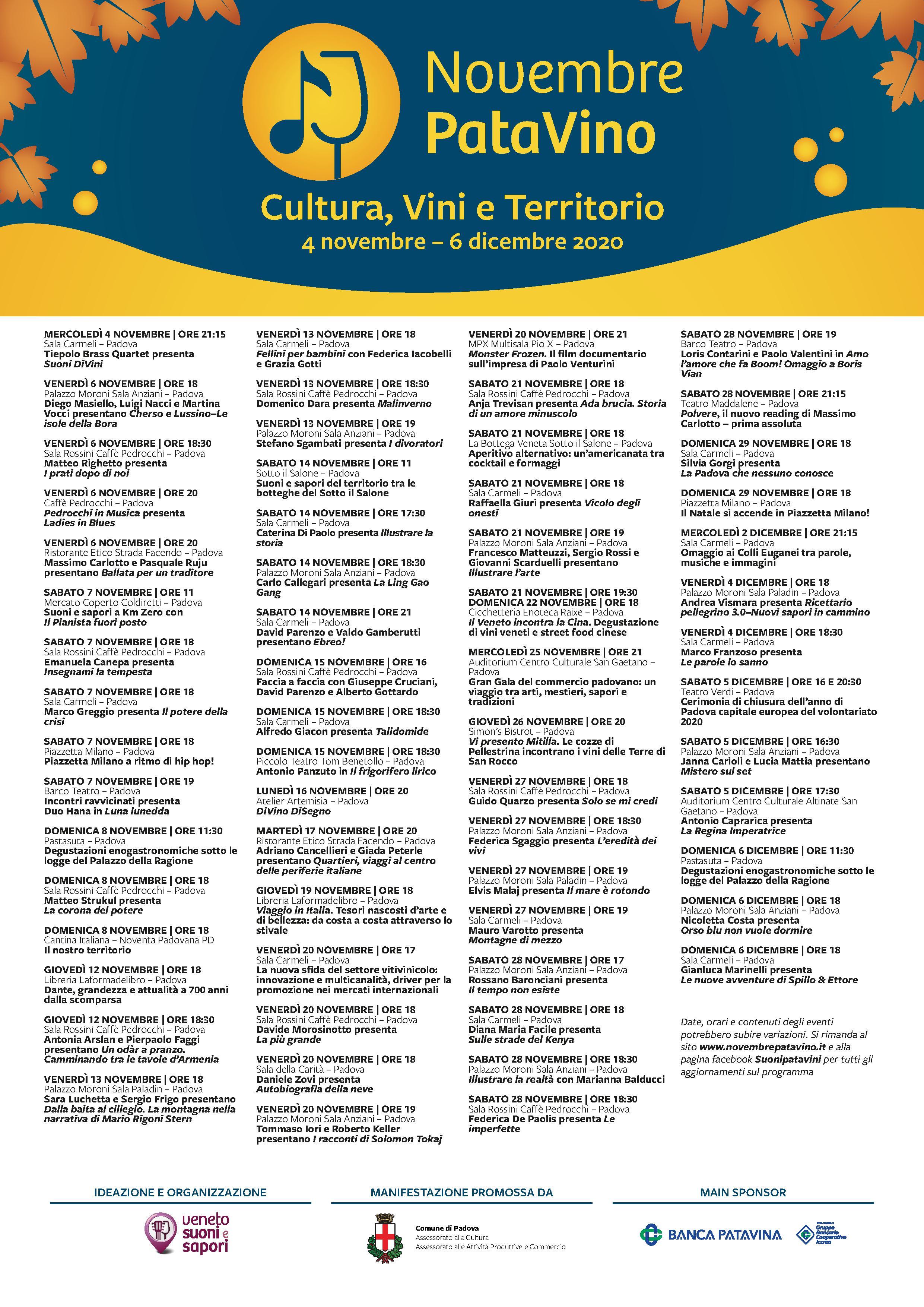 Novembre PataVino programma