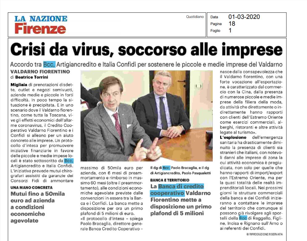 Articolo La Nazione Coronavirus