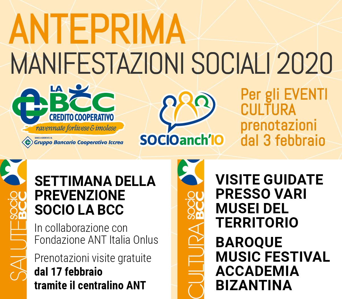 Per i Soci de LA BCC, Anteprima Manifestazioni Sociali 2020