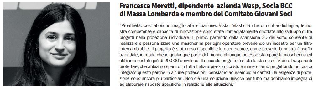 Francesca Moretti, Socia de LA BCC a Massa Lombarda. Innovazione in aiuto della popolazione