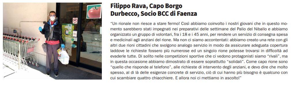 Filippo Rava, Capo Borgo Durbecco, Socio a Faenza