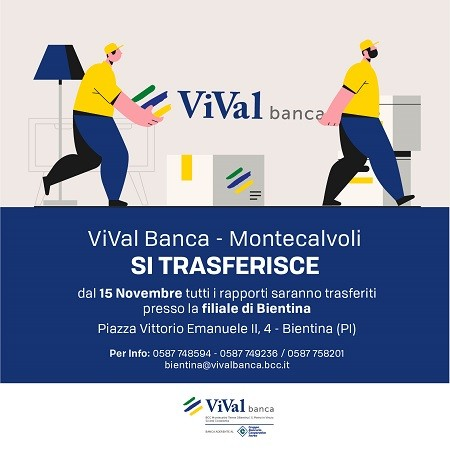 filiale montecalvoli si trasferisce in Bientina