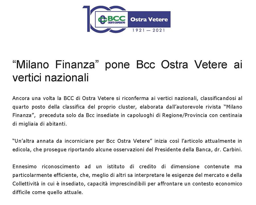"""""""Milano Finanza"""" pone Bcc Ostra Vetere ai vertici"""