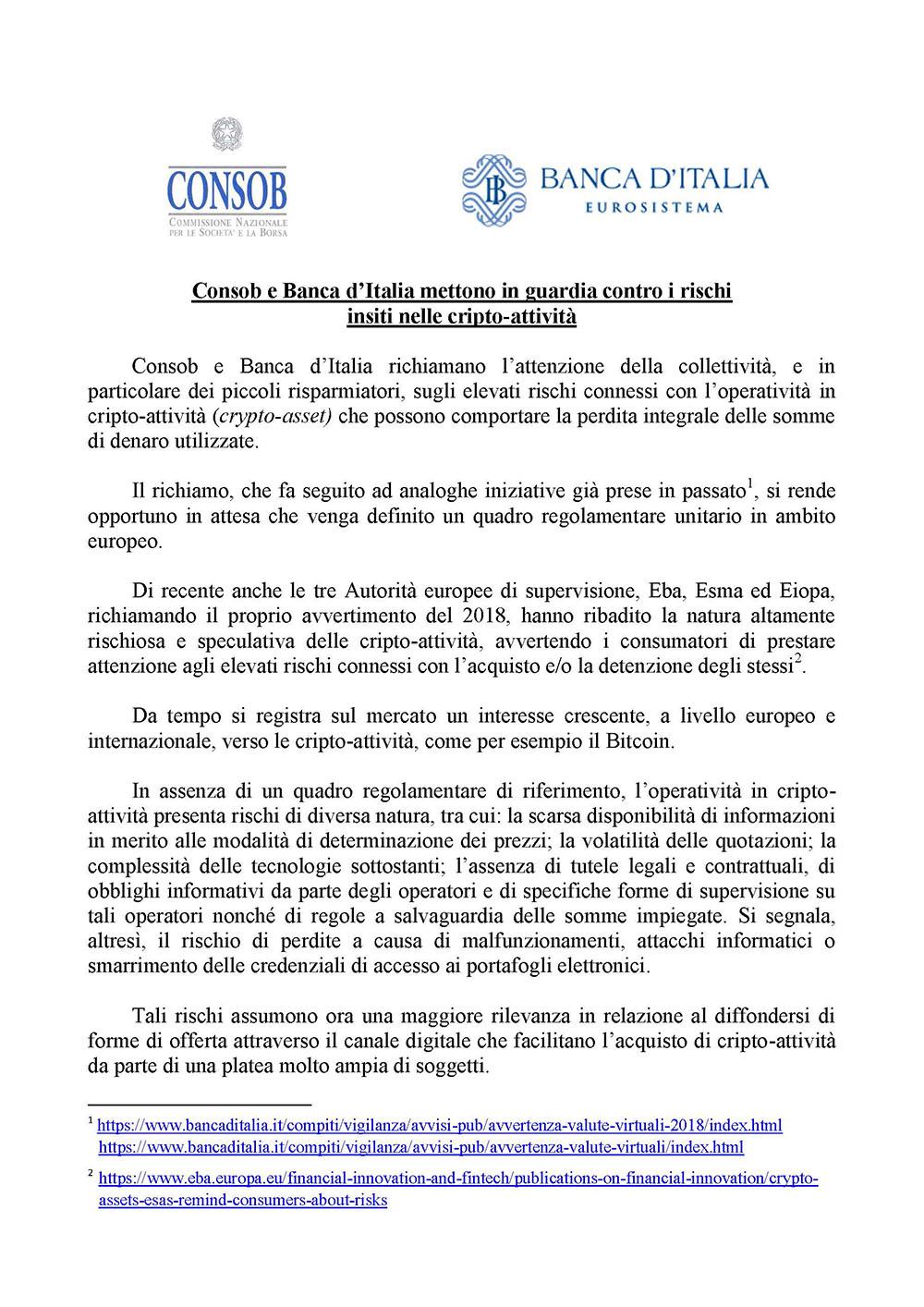 Consob e Bankitalia: rischi sulle cripto-valute