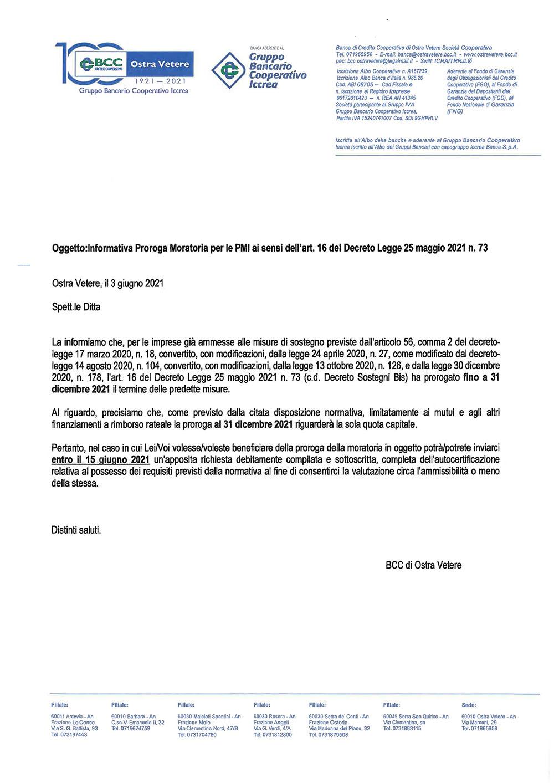 Informativa Proroga Moratoria 2021