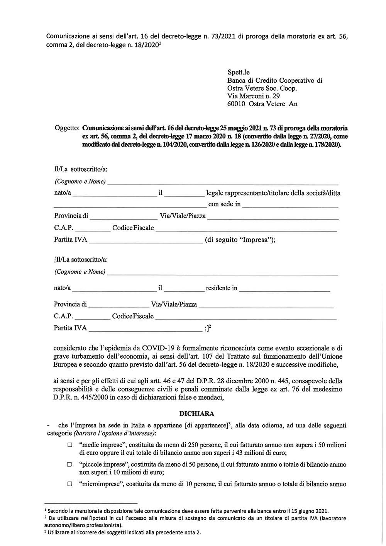 Informativa Proroga Moratoria 2021-2